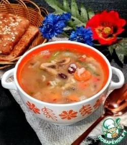 Постный рисовый суп с шампиньонами