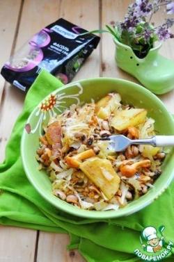 Постный бигос с фасолью и грибами
