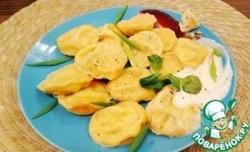 Равиоли с творогом, сыром и зеленым луком