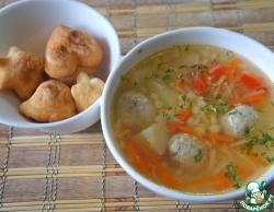 Суп с фрикадельками и пастой птитим
