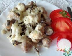 Курица с шампиньонами и папоротником под соусом