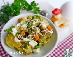 Салат с маринованными шампиньонами и огурцом
