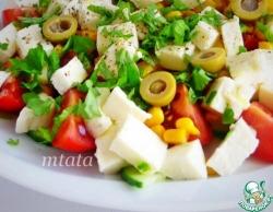 Кукурузный салат с сыром моцарелла
