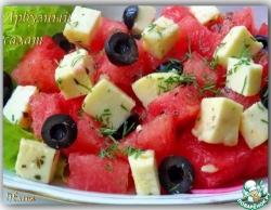 Салат из арбуза с мягким сыром