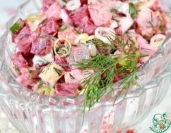 Салат с сельдью и зеленым луком