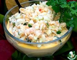 Салат с креветками и белокочанной капустой