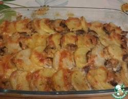 Мясо, запечённое с картофелем и грибами