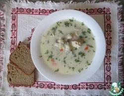 Сливочный суп с рисом и грибами