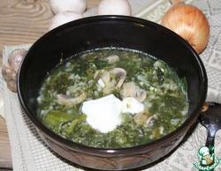 Овощной суп с рисом и грибами