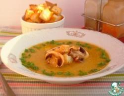 Суп-пюре с тыквой, фасолью и грибами