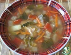 Простой овощной суп со шпинатом