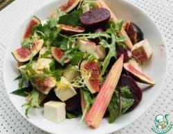 Салат из свеклы, тофу и инжира