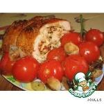 Рулет из индейки с овощами с пикантной творожной начинкой