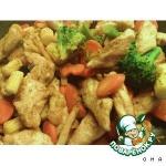 Сочное мясо с овощами и картофельными шариками