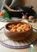 Перловая каша с перцем и томатами