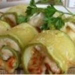 Рулетики из кабачков с куриным мясом рецепт