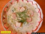 Холодный суп на кефире из огурцов и крабовых палочек