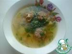 Суп картофельный с гречневыми фрикадельками с сырной начинкой