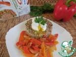 Салат из гречки с овощами и яйцом пашот