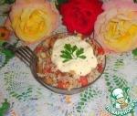 Капустный салат с кукурузой и сухариками