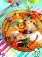 Куриные окорочка, запеченные с овощами