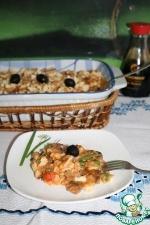 Крамбл из шампиньонов и курицы с овощами