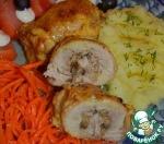 Куриные бёдра с грибами в сметанно-чесночном соусе