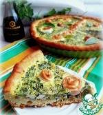Творожный пирог с рыбными розами в заливке