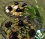 Салат с чечевицей, черемшой и баклажаном