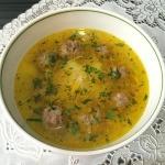 """Суп с фрикадельками и лапшой """"Паутинка"""""""