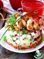 Овощной салат с мини-шашлычками