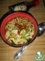 Суп с курицей, овощами и блинами