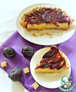 Пирог со сливами и заварным кремом
