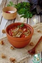 Чечевичный суп с печеными овощами